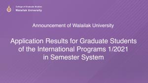 Application Result semester 1/2021